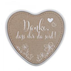"""Keksdose & Geschenkdose in Herzform Hochzeit """"Danke, dass ihr da"""