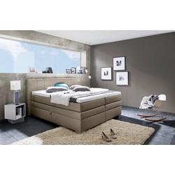 INOSIGN Boxspringbett Airdrie, mit Bettkasten und Topper grau 180 cm x 210 cm