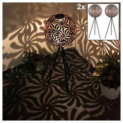 etc-shop LED Gartenstrahler, 2x LED Solar Steh Lampen Garten antik-schwarz Stand Lampe Muster Kugel Strahler