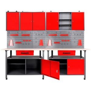 ONDIS24 Werkstatt-Set, (Set), 2x Werkbank, 2x Werkstattschrank, 2x Lochwand rot