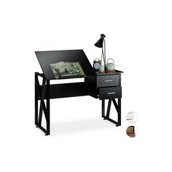 relaxdays Schreibtisch Schreibtisch neigbar schwarz