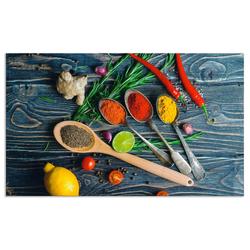 Artland Küchenrückwand Gewürze in Metalllöffeln, (1-tlg) 100 cm x 60 cm x 0,3 cm