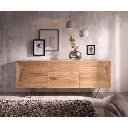 DELIFE Sideboard Wyatt, Akazie Natur 175 cm 3D Optik oben Edelstahl Design Sideboard natur 175 cm x 70 cm x 45 cm
