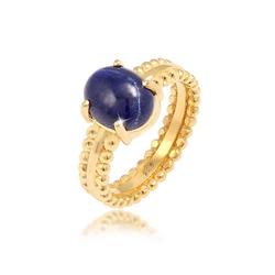 Elli Premium Fingerring Labis Lazuli Edelstein Oval 925 Silber, Edelstein Ring 54
