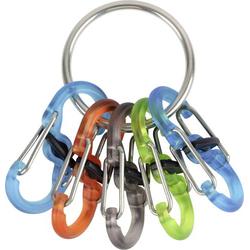 NITE Ize Schlüsselring mit Karabiner KRGP-11-R3 Locker S-Biner Silber, Türkis, Orange, Grün, Schw