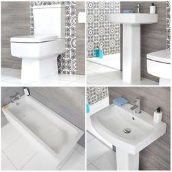 Säulenwaschbecken, WC mit aufgesetztem Spülkasten & Badewanne Set - Exton, von Hudson Reed