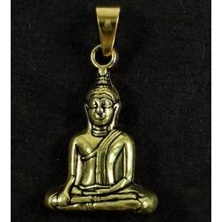 Guru-Shop Kettenanhänger Buddha Kettenanhänger aus Messing - gold