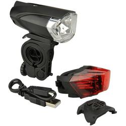 FISCHER Fahrräder Fahrradbeleuchtung Batterie LED/USB-BeleuchtungsSet 35L