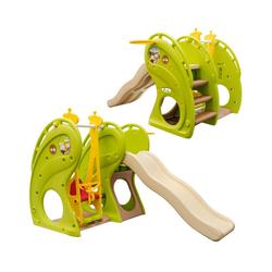 LittleTom Rutsche Kinderrutsche mit Schaukel Kinderschaukel/Rutsche, 180x110x120 cm Grün-Braun-Beige
