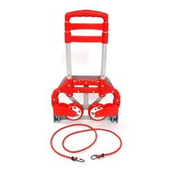 muchen Sackkarre Sackkarre Transportkarre Alu Handkarre Klappbar und Höhenverstellbar bis 75 kg für Gepäck Transport Reisen Umzug Einkaufen rot