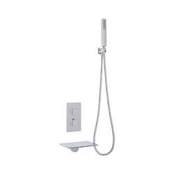 Waterfall Wannenarmatur - Badewannenarmatur mit Wasserfall-Auslauf mit Unterputzarmatur und
