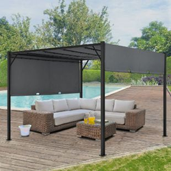 ArtLife Pavillon Cavo 3 × 3 m grau – Pergola mit LED Beleuchtung & Flachdach – Sonnenschutz