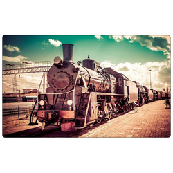 DesFoli Wandtattoo Fotografie Eisenbahn Lok Vintage R1771 bunt 150 cm x 98 cm