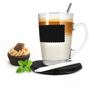 Sendez Kaffeeglas-Set 4-TLG mit Löffel und Teller Teeglas Tasse Becher Latte Macchiato Glas