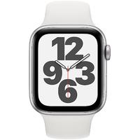 Apple Watch SE GPS + Cellular 44 mm Aluminiumgehäuse silber, Sportarmband weiß