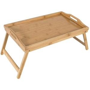 elbmöbel Tabletttisch Tablett Bett Bambus braun, Betttablett Bambus Betttisch klappbaren Beinen Serviertablett Frühstück Tablett B50xT30xH26