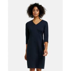 Taifun Jerseykleid Figurbetontes Kleid mit 3/4 Arm blau 34