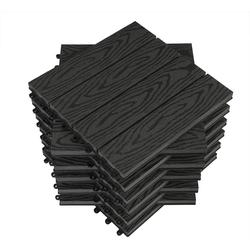 Woltu Terrassenfliesen, WPC Terrassenfliesen Holzoptik (11-St./ 1 m) grau