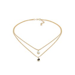 Elli Kette mit Anhänger Choker Layer Swarovski® Kristalle Rund 925 Silber, Kristall Kette goldfarben