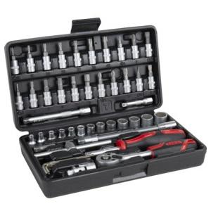 STIER Steckschlüssel-Satz 1/4'' 48-teilig - Ratsche/Steckschlüsselsatz/Knarrenkasten/Ratschensatz/Ratschenkasten