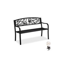 relaxdays Gartenbank Gartenbank Vögel Design schwarz