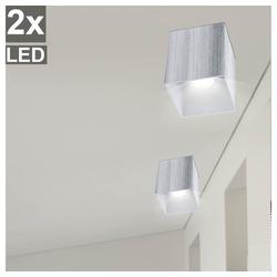 etc-shop LED Einbaustrahler, 2er Set Aufbau Decken Strahler Wand ALU Lampen im Set inklusive LED Leuchtmittel