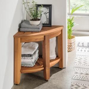 DESTINY Beistelltisch Halfround Badezimmer Regal Tisch Teak Teaktisch 40x40x41,5