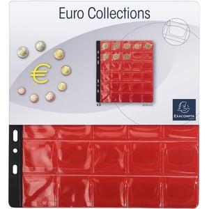 Exacompta 96003E 3er Pack Münzenhüllen für jeweils 30 Münzen in 30 mm, inklusive 3 rote Register, passend zum Münzalbum Numismatik