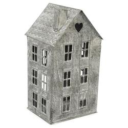 matches21 HOME & HOBBY Kerzenständer Windlicht Haus mit Fenstern Metall silber 36 cm 36 cm