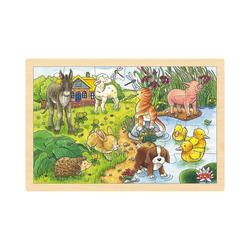 goki Puzzle Holzpuzzle 24 Teile Tierkinder, Puzzleteile