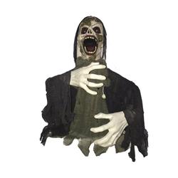 EUROPALMS Dekofigur Schreiender Zombie - Halloween Figur 58cm - Riesenhände - Blinkende Augen und Geräusche