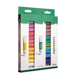 Rayher Künstler-Set mit 24 Farben Aquarellfarben farbsortiert 24 x 12,0 ml, 24 St.