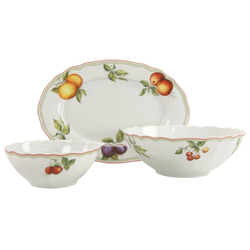 CreaTable Servier-Set Flora Orchard, Porzellan, (Set, 1 Platte, 2 Schüsseln)