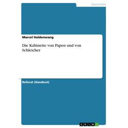 Die Kabinette von Papen und von Schleicher als Taschenbuch von Marcel Haldenwang