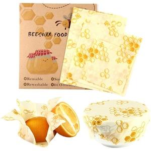 Volwco Bees Wrap Wachspapier, Food Wraps Set 3 Verschiedene Größe, Wiederverwendbar Bienenwachstücher für Lebensmittel, Obst, Gemüse und Brot, Umweltfreundlich & Gesundheit