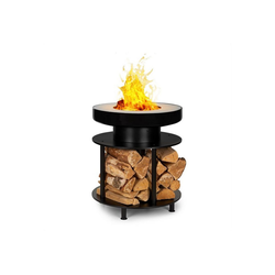 blumfeldt Feuerschale Wood Stock 2-in-1-Feuerschale BBQ-Grill Ø56cm Edelstahl schwarz, Romantik pur: Feuerschale für Wärme und Atmosphäre im Garten und auf der Terrasse