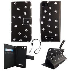 Handyhülle Tasche für Handy Wiko Lenny 2 Polka Dot Hundepfoten