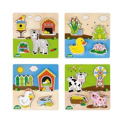 Lena® Steckpuzzle LENA® Holz-Steckpuzzle Bauernhof, 4er-Set, Puzzleteile