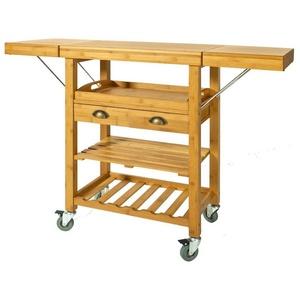 SoBuy Küchenwagen FKW25, Servierwagen aus hochwertigem Bambus
