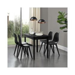Set de 4 Chaises Design Chaise de Cuisine Chaise de Salle à Manger Plastique Noir 83 x 54 x 48 cm