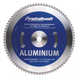 Metallkraft MTS 356 Sägeblatt für Aluminium Ø 355 x 2,4 x 25,4 mm - Sägeblätter für Aluminium