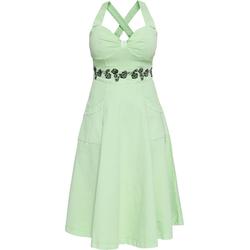 Queen Kerosin Jeans Floral, vestido de columpio - Verde Menta/Negro - 3XL