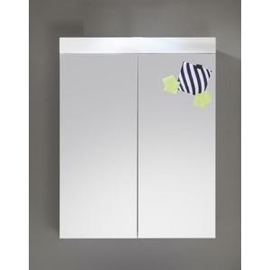 Spiegelschrank Bad Spiegel weiß Hochglanz 60 cm Badezimmer Amanda LED Badlampe