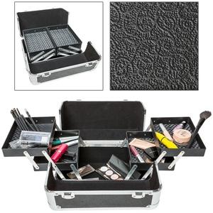 Kosmetikkoffer mit 4 Ablagefächern - schwarz