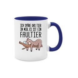 Shirtracer Tasse Das Tier in mir Faultier - Statement - Tasse zweifarbig - Tassen, tier tasse