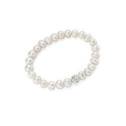 Smart Jewel Armband elastisch mit Süßwasserperlen und Kristallsteinen