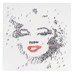 Ölgemälde Marilyn + Menschen, 100% handgemaltes Wandbild Gemälde XL, 100x100cm