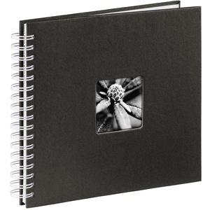 Hama Fotoalbum 28x24 cm (Spiral-Album mit 50 weißen Seiten, Fotobuch mit Pergamin-Trennblättern, Album zum Einkleben und Selbstgestalten) schwarz
