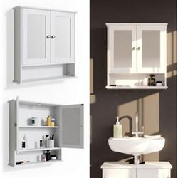 Vicco Wandspiegel Bianco Badspiegel mit Ablage 2 Türen 58x56cm Hängespiegel Spiegel für Badezimmer im Landhausstil