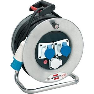 Brennenstuhl 1193256 Kabeltrommel 50 m Serie Garant SK Stahl verzinkt rostfrei CEE Stecker 3-polig 230V/16A und 2 CEE 3-polig 230V/16A, Durchmesser 32 cm